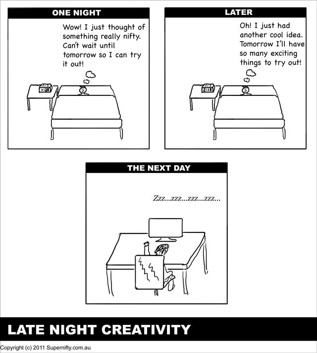 Late night creativity - Supernifty Comic #5
